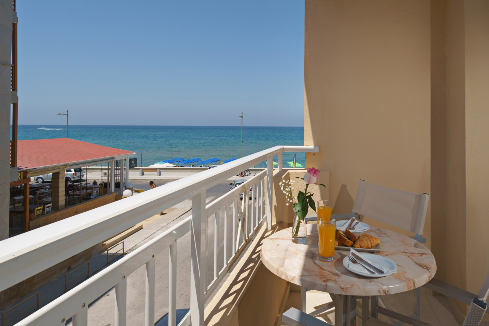 Balcony of the hotel, table with sea view